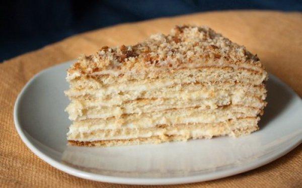 Торт на сковороде с сметанным кремом с фото